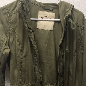Hollister olive green trench coat